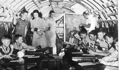 Classes were held in an airplane. Photo from Arvin Federal Emergency School