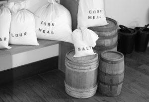 salt, flour, corn